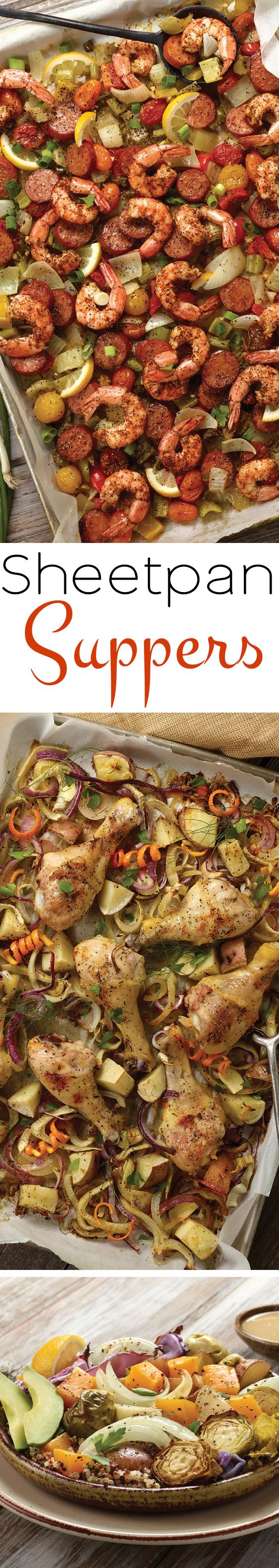 Make supper a cinch with Spicy Sheet Pan Roasted Jambalaya, Easy Drumstick-Quinoa Sheet Pan Supper and Sheet Pan-Style Buddha Bowls.