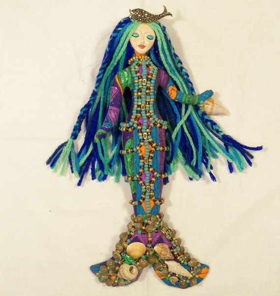 Ooak Blue Lagoon MERMAID Beaded cloth Art Doll 11in. by arziehodge, $65.00