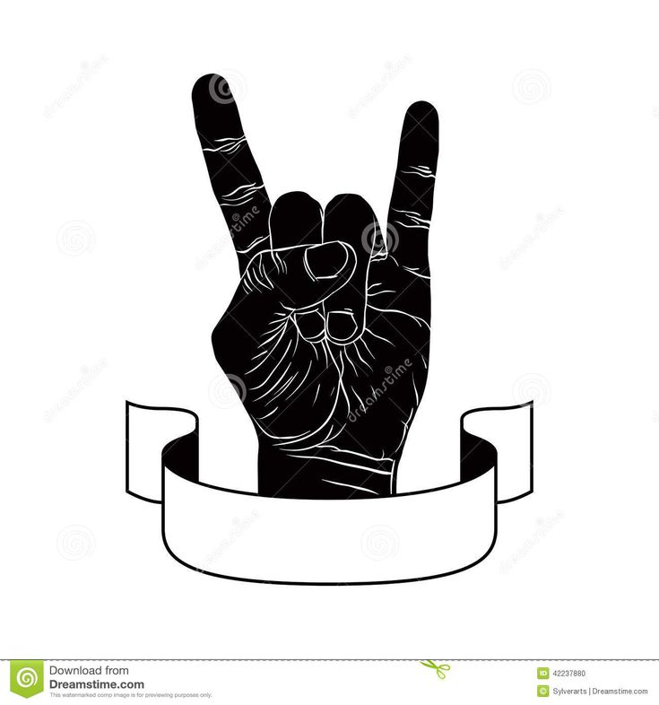 Rock and roll hand sign black and white dress