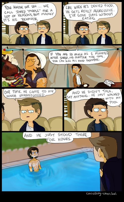 J2M fanart Behind the Scenes of Supernatural: A Fan's Perspective mockumentary by http://consulting-cannibal.tumblr.com/ This is funny