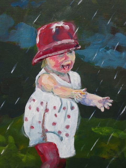 Korrin under the Sprinkler, acrylic by Bob McQueen