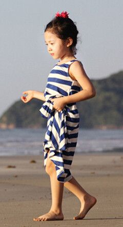 2017 Hot Girls Summer Dresses Toddler Girl Striped Beach Dress Clothes Casual Bohemian Cotton Free Shipping