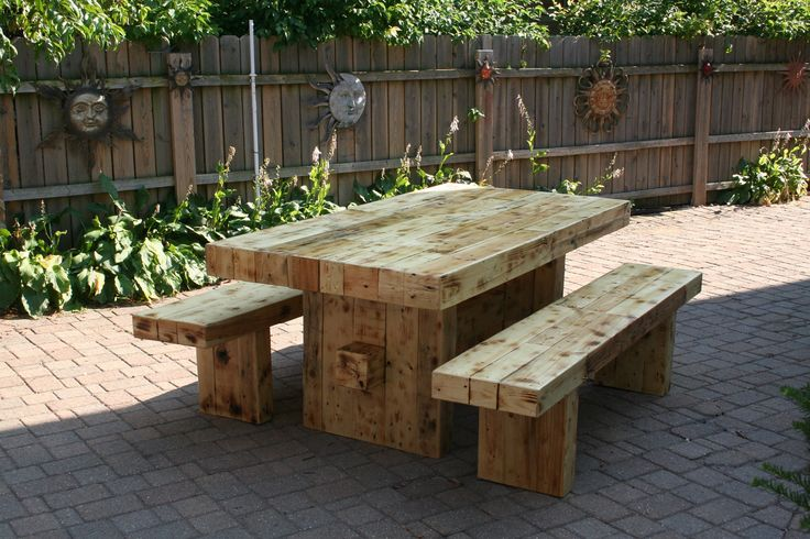 reclaimed wood dining table set with 2 benches. $999.00, via Etsy.
