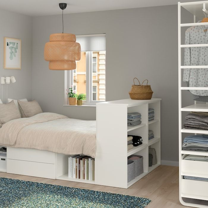 PLATSA Bettgestell mit 2 Schubladen weiß, Fonnes IKEA