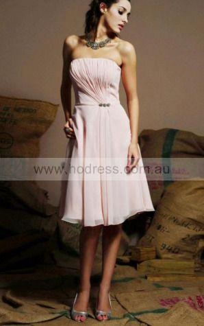 A-line Strapless Knee-length Chiffon Natural Evening Dresses gt1449