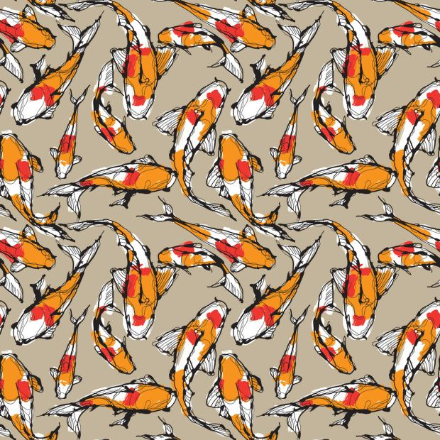 13 best teal and orange sunroom to livingroom images on for Koi fish print fabric