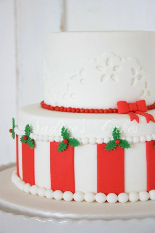 Christmas Cake decorating with red and holly