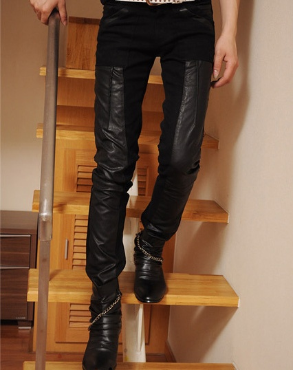 Leather pants look fly on both men and women! Shop this look at Sneak Outfitters http://www.sneakoutfitters.com/New-In/Men-s-New/Leather-Patch-Designer-Slim-Pants-p3194.html