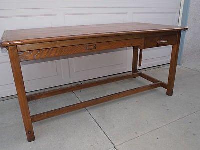 "Vintage Keuffel & Esser Hudson 4 Post Drafting Drawing Table Oak 72"" Craftsman (04/13/2013)"