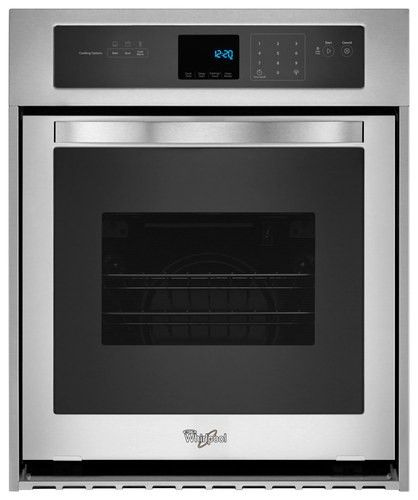 """Whirlpool - 24"""" Built-In Single Electric Wall Oven - Stainless Steel - Larger Front"""