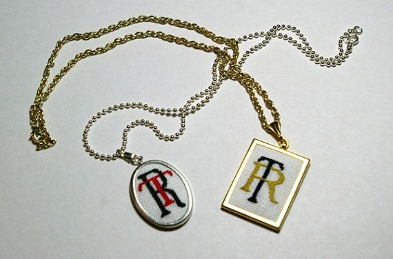 Personalized Embroidered Monogram Pendant by BlueTopazStitchery, $24.00