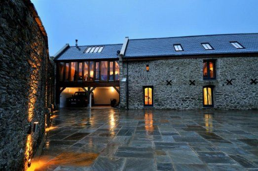 Barn conversion with oak frame extension in Devon by Roderick James Architects- <3 the slate drive.