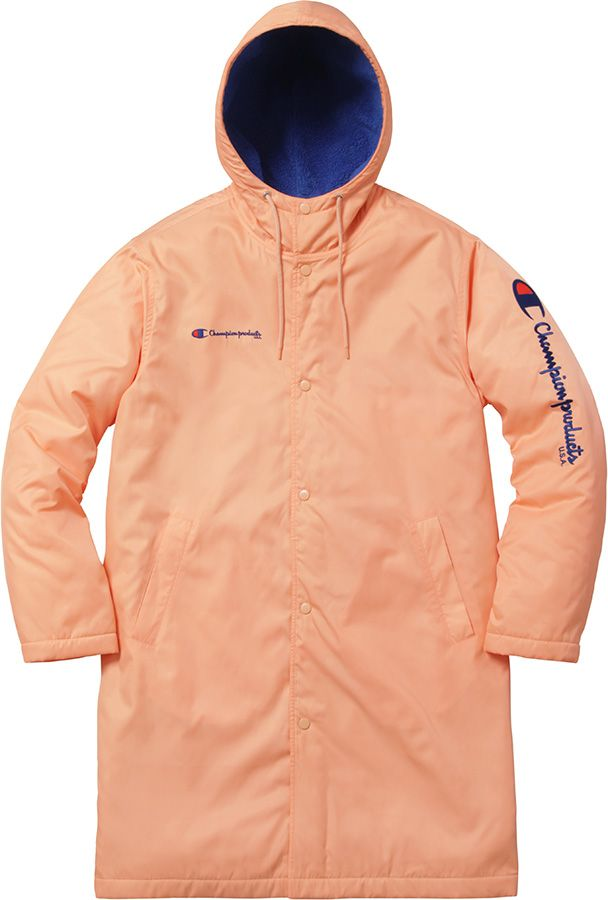 Supreme.Champion Stadium Parka - water resistant pol with pile lining. Snap front closure and hand pockets at lower front.
