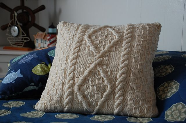 Nautical Cushion Knitting Pattern : 376 best CABLE KNIT PILLOW images on Pinterest