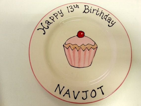 Hand Painted Personalised Cup Cake Birthday Gift for a Girl Child's Ceramic Pottery Keepsake Plate Present