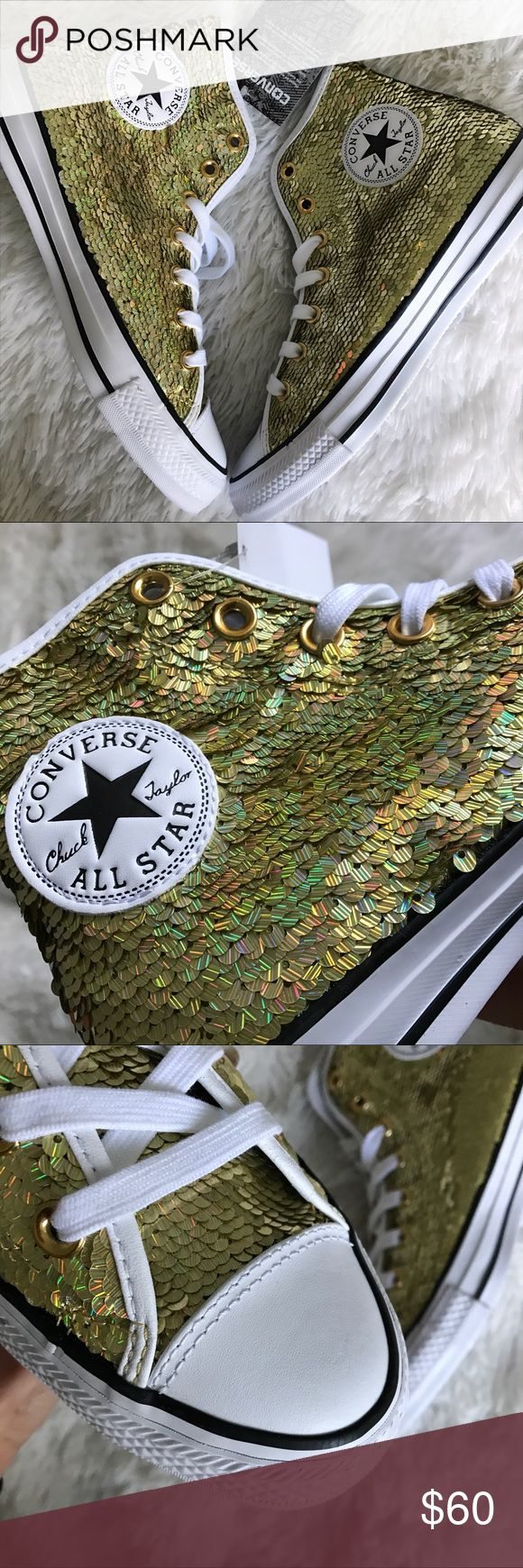 NEW ✨ CONVERSE CHUCK TAYLOR ALL STAR GOLD SEQUIN 8 NEW NEVER WORN ✨ CHUCK TAYLOR | ALL STAR CONVERSE. SIZE 8 WOMENS! (THIS IS NOT SIZED AS A MENS / UNISEX SHOE. IT IS A SIZE 8 WOMEN 24.5 cm)   Take your chucks game to a whole new level with these ✨ ICONIC ALLSTARS WITH LOTS OF SHINE & LEATHER DETAILING!!   Ships same or next day from my smoke free home. No original box. Will be shipped securely.   Bundle items to save. Shop with posh and don't pay the sales tax! 🤑  100% AUTHENTIC AND DIRECT…