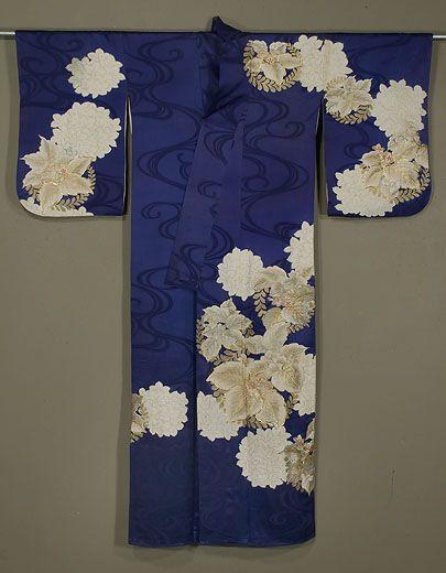 Japanese Kimono 1950s. Rinzu silk, with gold, silver and silk embroidery and gold surihaku.