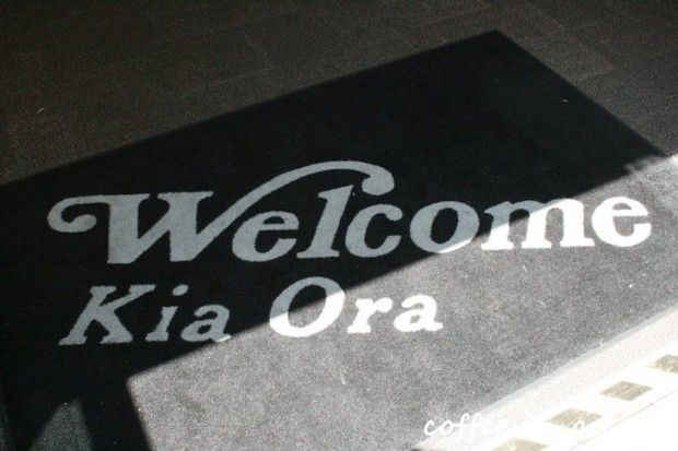 'kia ora' means 'welcome', 'good bye', 'hello', 'thank you' and a whole lot of other things in the beautiful language of maori!