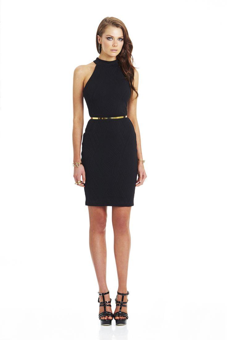 Uptown Girl Knit High Neck Dress Black #nookie