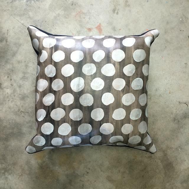 Lunares, handpainted leather cushion. Dark denim backing with zipper. 45cm X 45cm. One off design. Buy at www.frejj.com