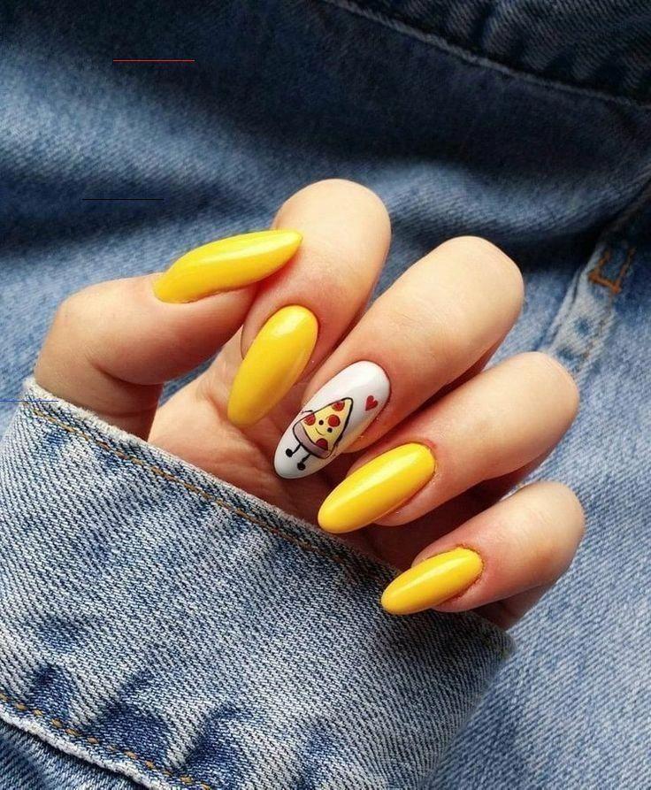 42 Mejores Disenos De Unas En Tendencia 2020 Decoracion In 2020 Yellow Nails Yellow Nail Art Pretty Acrylic Nails