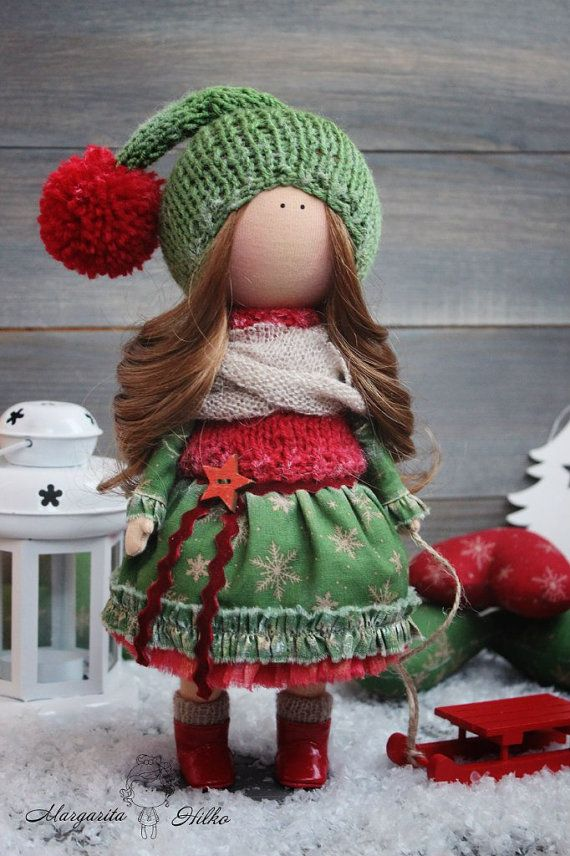 Handmade soft doll red green colors doll for by AnnKirillartPlace
