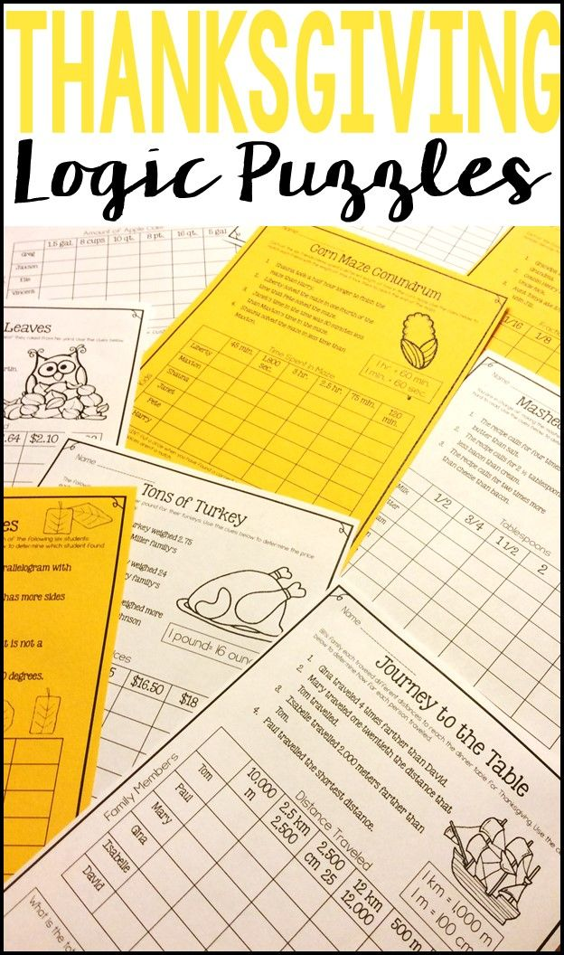 Ten Thanksgiving and Fall Themed Logic Puzzles for students to practice critical thinking and basic math skills during the fall months! Use as a fall math activity for early finishers, a cooperative learning activity, or a math center.