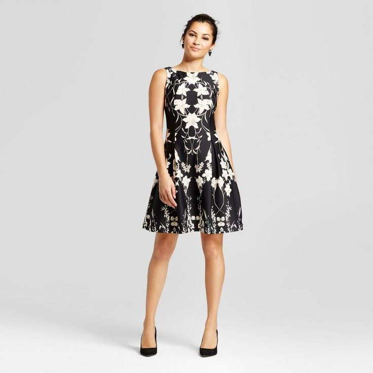 Women's Floral Printed Fit and Flare Tank Dress - Melonie T Black Combo 12