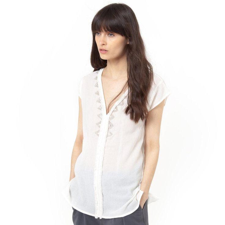 Blouse manches courtes col v avec perles Soft Grey | La Redoute Soldes