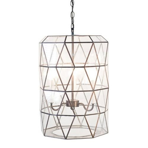 Lantern with 3 Light Cluster in Clear Glass by Worlds Away
