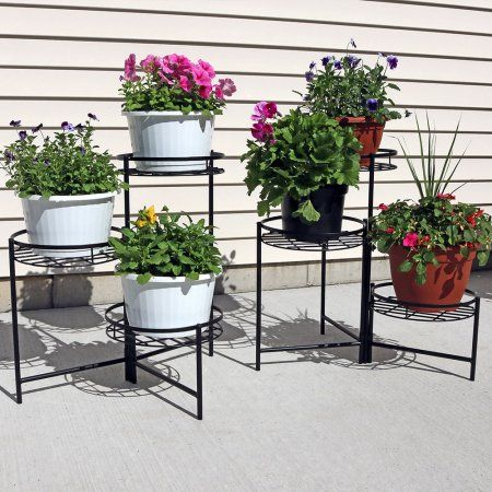 Sunnydaze Black Three Tiered Indoor Outdoor Plant Stand 22 Inch Set Of Two Stands Flower And