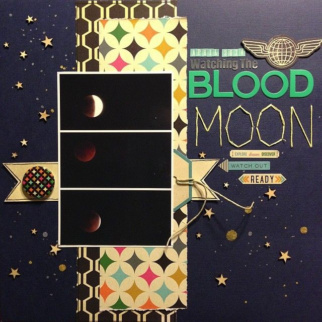 Watching the Blood Moon - Scrapbook.com  Love that this moment in time was documented! What a great layout.