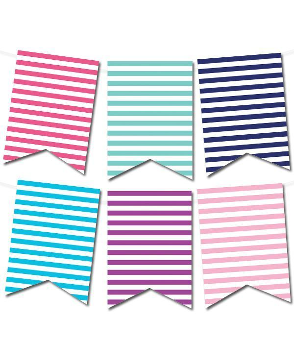 Striped Pennant Banner (in 12 colors Garlands for all occasions
