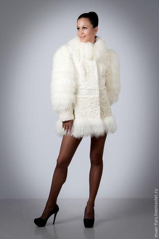 Купить Шуба из Каракуля с Ламой Очарование - белый, молочный, каракуль, очарование, меховая одежда