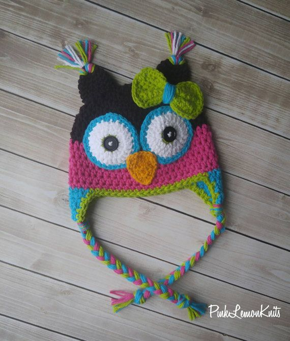 How cute is this hat!! This crochet owl hat is made with 100% cotton yarn in brown, pink, teal and lime green. It features a detachable bow in lime green and teal. Use the bow on the hat or take it off and use it as hair clip. This hat would be perfect used as a photo prop for newborn photos, as a unique birthday gift. This hat would also be the perfect winter hat for your little one. This hat is available in all different sizes. This hat can also be customized with your choice of colors…