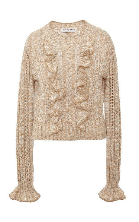 Beige Ruffle Cable Knit Pullover by Philosophy di Lorenzo Serafini for Preorder on Moda Operandi