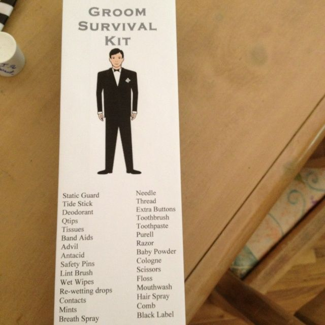 Groomsmen Survival Kit   Grooms survival kit I made for my fiancé in a grey ...   Wedding ...