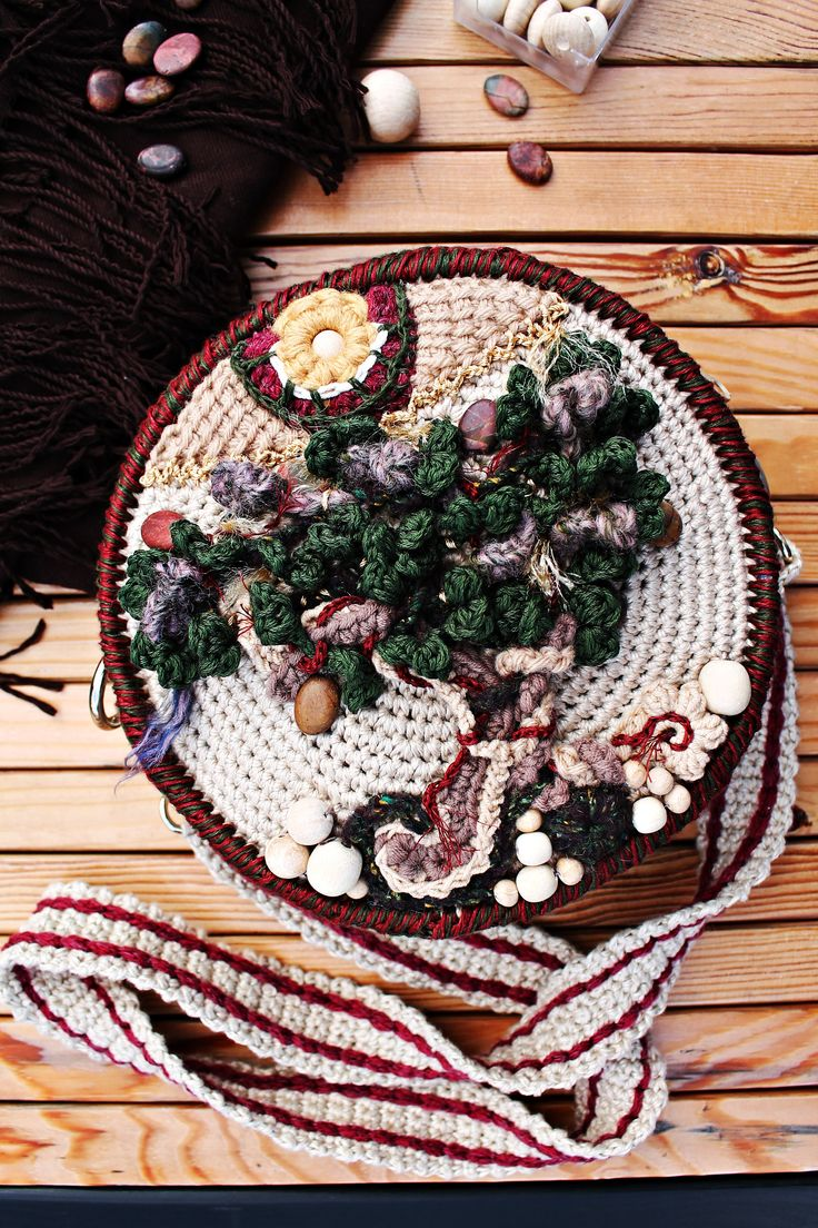Crossbody Crochet Bag For Women Beaded Round Purse With