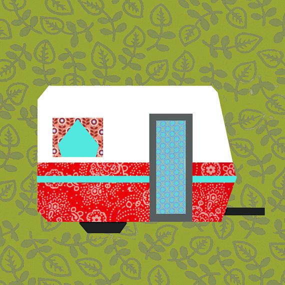 My little trailer Paper pieced quilt block pattern PDF