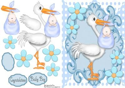 """Cute Baby Boy Delivery By Stork on Craftsuprint designed by Amy Perry - Cute Baby Boy Delivery By Stork in lovely blue ornate frame with corner flowers, also has decoupage and choice of tag """"Congratulations"""" """"Baby Boy"""" and a blank tag for your own sentiment - Now available for download!"""