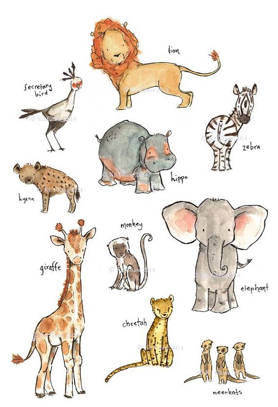 Start your young explorer early with this collection of babys favorite safari friends.    A beautiful reproduction of my original watercolor