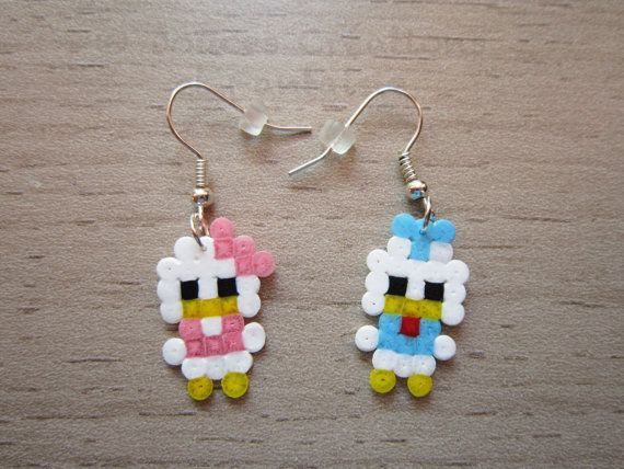 Donald Daisy earrings Disney jewelry, perler hama bead, kawaii, 8-bit pixel art, child girl woman, hand-made