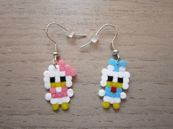 Donald Daisy earrings Disney jewelry, perler hama bead, kawaii, 8-bit pixel art, child girl woman, hand-made