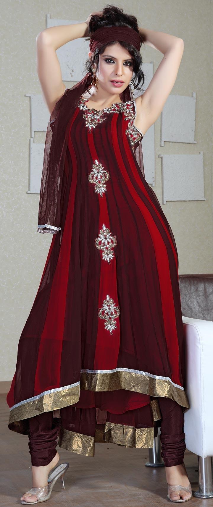 Brick Red Faux #Georgette Churidar #Kameez with Dupatta | US$181.37