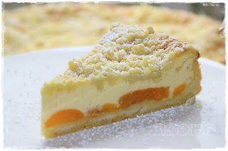Quark Streusel Kuchen mit Aprikosen   (oder Pfirsichen)        300g Mehl   150g Margarine   150g Zucker   1/2 TL Vanillezauber Rezep...