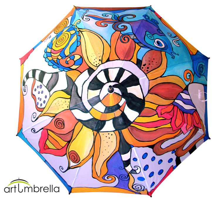 Hand Painted colorful Umbrella • Abstract Flowers and Fishes • Made to order • Colorful Umbrella • Rain Umbrella • Wooden Handle by Artumbrella on Etsy