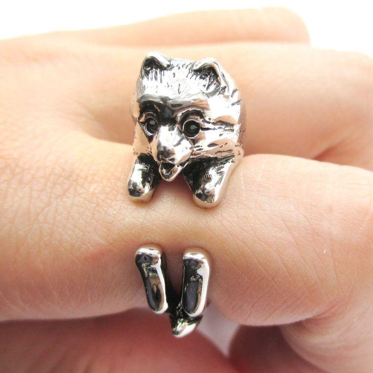 Realistic Pomeranian Pom Puppy Dog Shaped Animal Wrap Around Ring in Shiny Silver   US Sizes 4 to 8.5