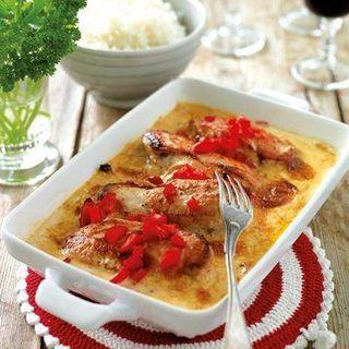 Kycklingfilé fylld med paprika och salami