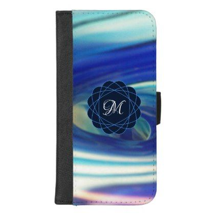 Blue and White Swirl Pattern iPhone 8/7 Plus Wallet Case - monogram gifts unique design style monogrammed diy cyo customize