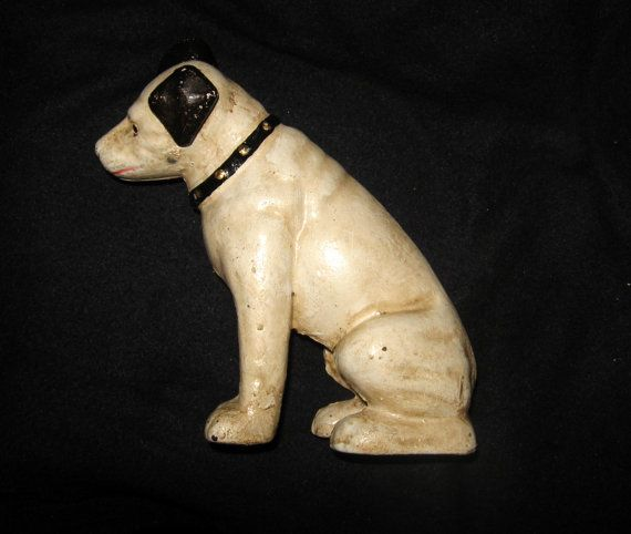 RCA Victor Nipper Dog Cast Iron Bank Statue Door Stop with ...